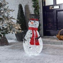 LED Rattan Snowman Christmas Figure - 70cm | Light Up Indoor & Outdoor Snowman