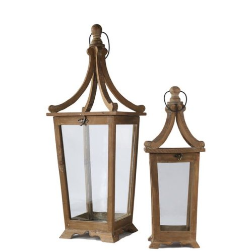 Urban Trends Collection 54210 Wood Square Lantern with Metal Ring Hanger & Glass Sides, Natural Brown - Set of 2
