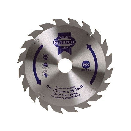 Faithfull FAIZ23520 Circular Saw Blade TCT 235 x 16/20/30/35mm x 20T Fast Rip