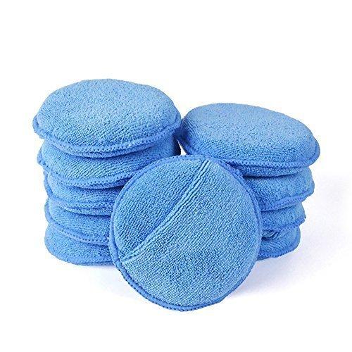 Microfiber Wax Applicator, AutoCare Ultra-soft Microfiber Wax Applicator Pads with Pocket Wax Applicator for Cars Wax Applicator foam sponge (Blue,...