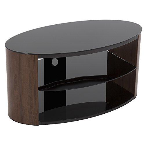 "King Walnut TV Stand 80cm, Black Glass Shelves, TVs up to 42"""