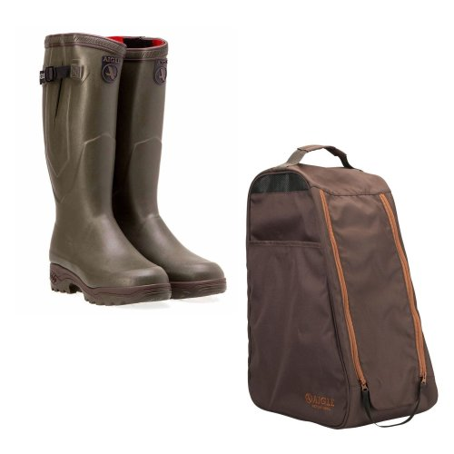 Aigle Parcours 2 ISO Insulated Wellington Boots with Aigle Boot bag
