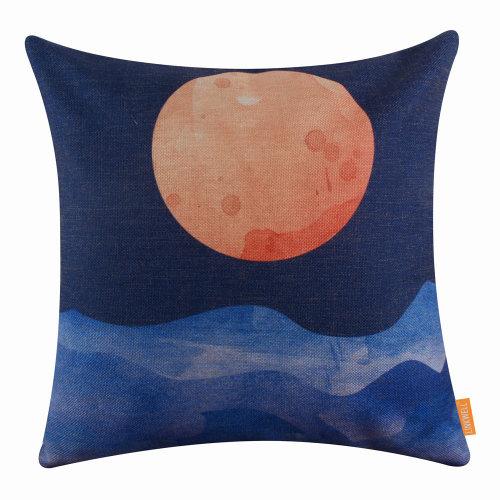"18""x18"" Modern Sunset Burlap Pillow Cover Cushion Cover"