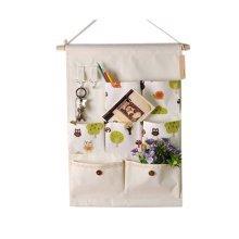 7-Pockets Zakka Wall Door Closet Hanging Storage Magazine Organizer Case, F