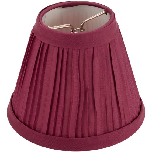 """Pleated Cloth Covered Lampshade 2.5""""X4""""X5""""-Burgundy"""