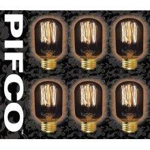 6 X PIFCO T45 40 Watt E27 ES Vintage Tubular Retro Light Bulbs