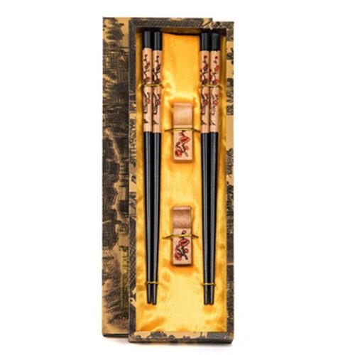 Chopsticks Reusable Set - Asian-style Natural Wooden Chop Stick Set with Case as Present Gift,C