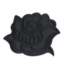 9PCS Embroidered Fabric Patches Sticker Iron Sew On Applique [Rose Black]
