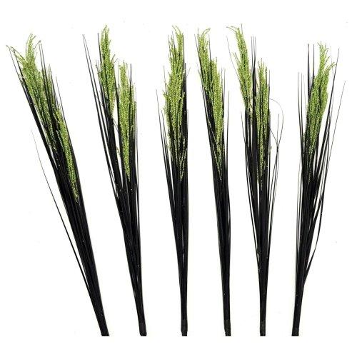 Set of 6 Artificial Flowering 90cm Grass Stem - Black Grass with Green Flowers
