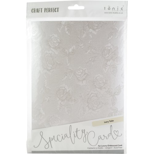 Craft Perfect Luxury Embossed A4 Cardstock 5/Pkg-Ivory Toile