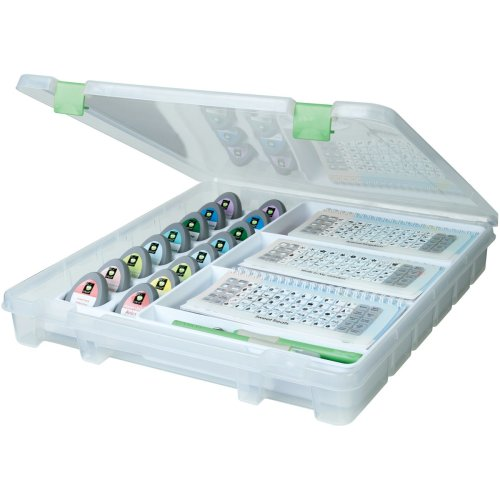 "Artbin Super Satchel Electronic Cartridge Storage-15.25""X14""X2"" Translucent W/Green"