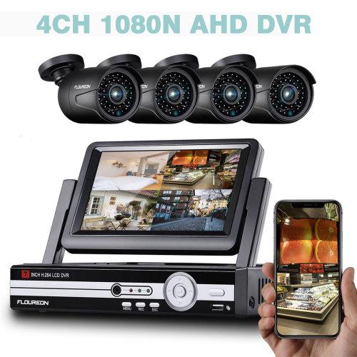 "FLOUREON 7""Monitor 4CH 1080N AHD 5IN1 DVR 4X 1080P Camera Security Kit"