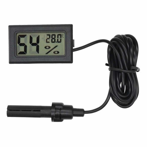 diymore LCD Digital Mini Embedded Thermometer Hygrometer Temperature Humidity Gauge Meter Probe for Reptile Incubator Aquarium Poultry (Black with...