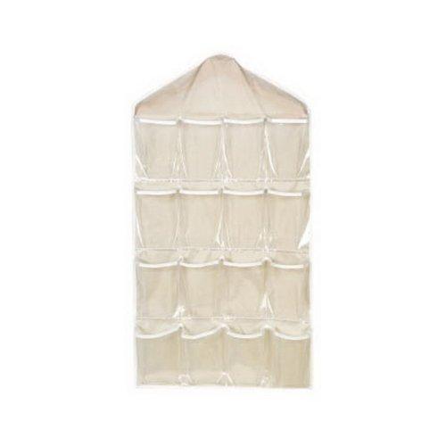 16-Pocket Wardrobe Lingerie Organizer Closet Socks Transparent Hanging Bag Beige