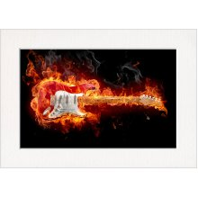 Flaming Fire Guitar Print in a Textured Card Picture Mount to put into your own frame