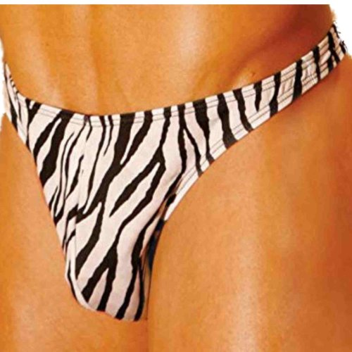 Elegant Moments Mens Zebra Thong One Size