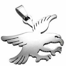Polished Stainless Steel Flying Eagle Pendant For Men