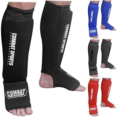 Combat Sports Washable Shin Guards Washable MMA Elastic Cloth Shin Instep Padded Guards Blue Large