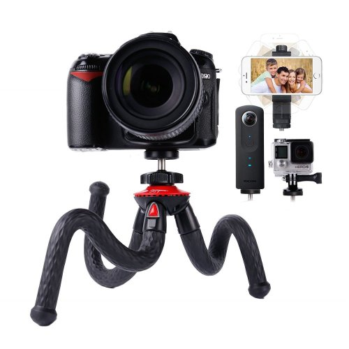 Travel Tripod, Lammcou Flexible Camera Phone Tripod 4 in 1 Octopus Gorillapod Tripods Stand Mount with Smartphone Tripod Adapter Clamp for Canon...