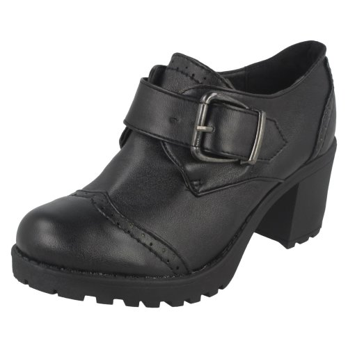 Girls Red Tag Chunky Heeled School Shoes