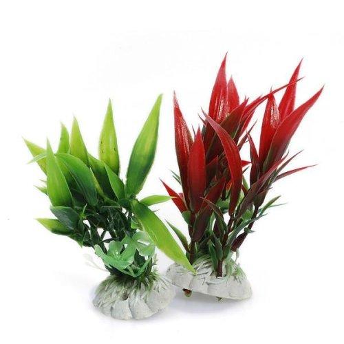 Green Red Plastic Artificial Fish Tank Aqarium Decoration Plants