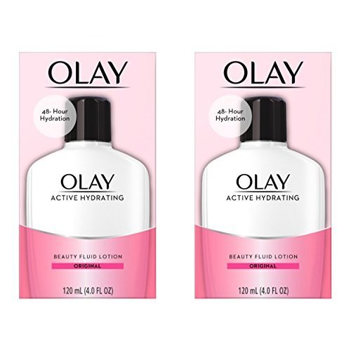 Olay Active Hydrating Beauty Fluid Lotion, Original Facial Moisturizer, 4 Oz. (Pack of 2)  Packaging may Vary