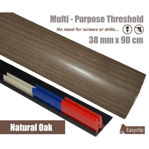 Natural Oak Multi Purpose Threshold Strip 38x90cm Adhesive Clip System