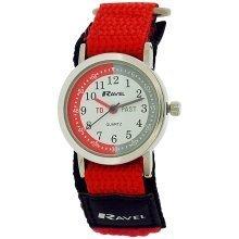 Ravel Time Teacher Black / Red Velcro Nylon Strap Watch + Telling Time Award