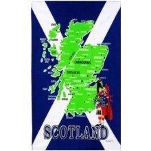 Scotland Map Tea Towels Souvenir Gift Saltire Flag Towns Cities Scottish Cotton
