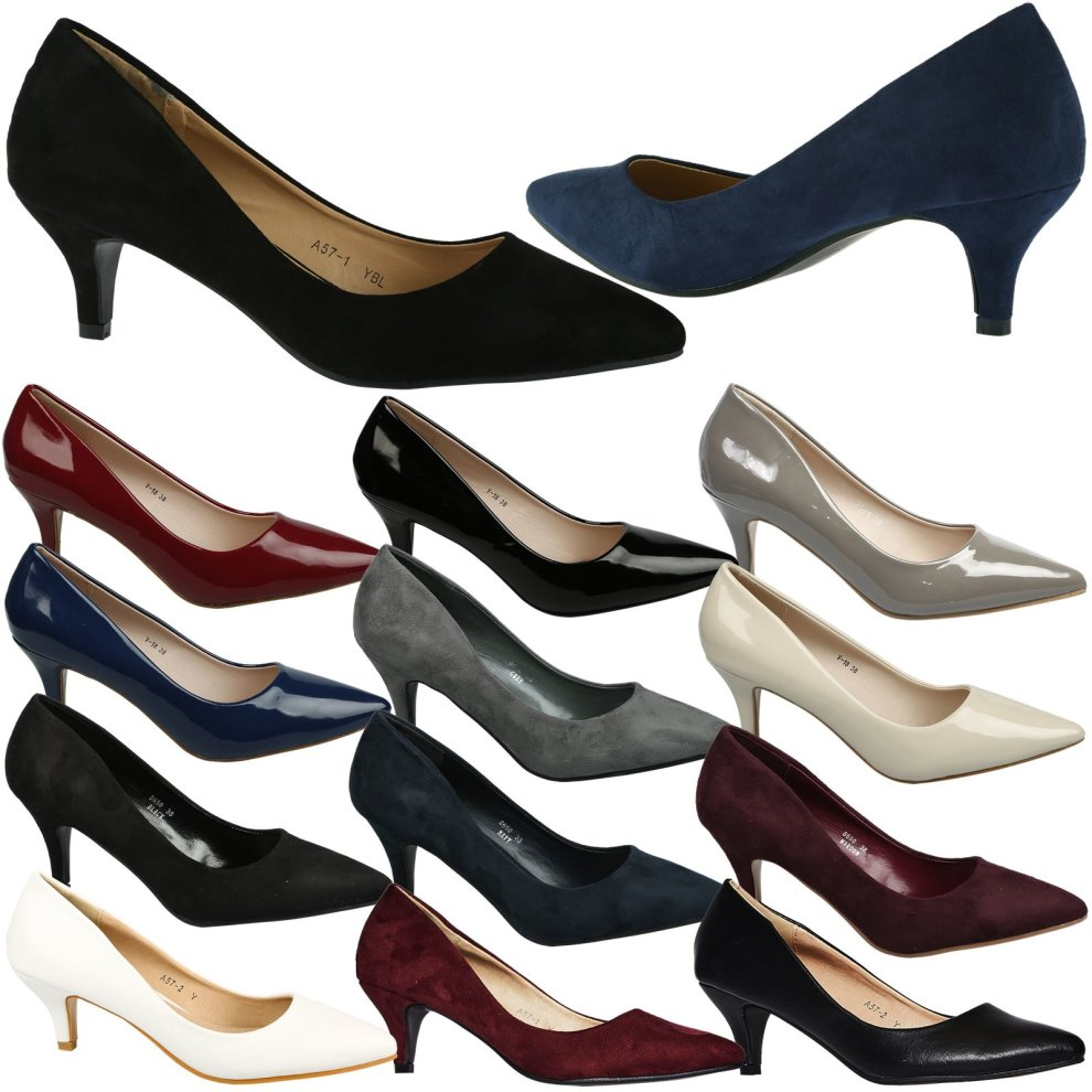6d917047193 Miranda Womens Low Kitten Heel Slip On Pointed Toe Court Shoes on OnBuy