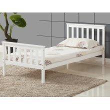 ViVo Single Bed in White 3ft Single Bed Wooden Frame White Pine Wood Bedroom New