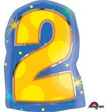 Confetti Dots Number 2 Junior Shape Foil Balloons 13/33cm W x 20/50cm H S60 -