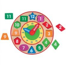 Melissa & Doug Wooden Shape Sorting Clock Educational Toy