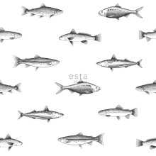wallpaper pen drawing fish white and black - 138967