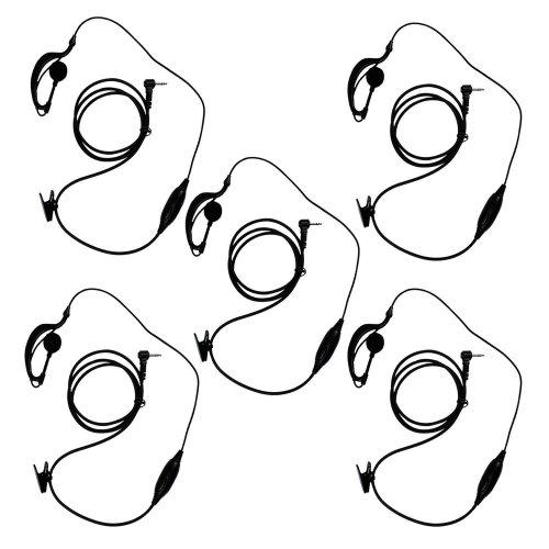 KEESIN G Shape Clip-Ear Headset/Earpiece Mic for Motorola Talkabout 2 Two Way Radio Walkie Talkie 1-pin 100-0 (5 Pack)