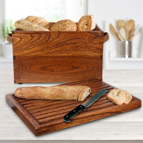Breadbox in Mindi wood Bread Pit