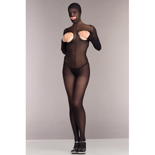 Cupless And Crotchless Hooded Bodystocking One Size (S-L 34 - 40) Ladies Lingerie Cat suits - Be Wicked