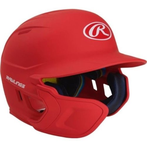 Rawlings 1113849 Mach Extension Batting Helmet with Junior Left-Handed - Scarlet