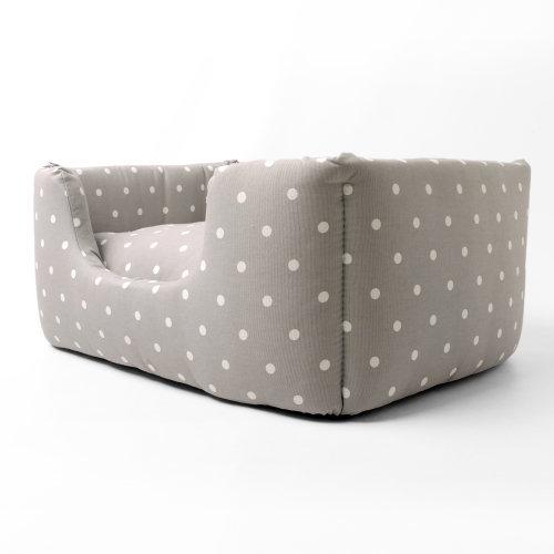 Deeply Dishy Dog Bed Dotty Dove Grey Stylish Dog Luxury Deep Filled Mattress