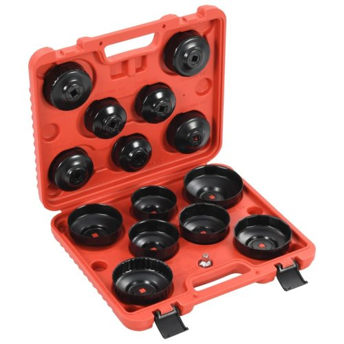 vidaXL 15 Piece Cup-type Oil Filter Removal Tool Set Wrench Washer Drains