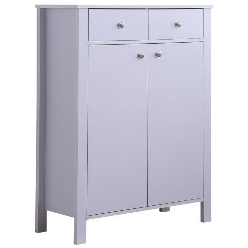 HOMCOM Shoes Cabinet 2-Door 16 Pairs Footwear Organiser Entryway Hallway Storage Adjustable 2 Drawers & 4 Shelves White 80W x 34D x104H (cm)