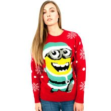 Miss Lulu Women Thicker Christmas Jumper Minion Snow Hopiko Knitted Sweater