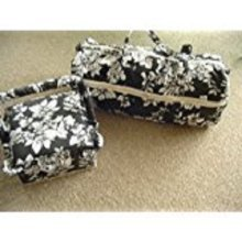 Black and White Fabric Frilled Sewing Box and Knitting Bag