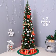 Homcom 7ft Slim Artificial Pine Christmas Tree