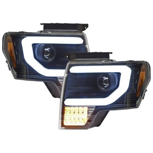 F150 & F250 LD 2009 - 2014 Head Lamps with Projector, Black