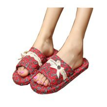 Elegant Flowers Pattern Style Cotton Slippers/Classic Slippers/Red