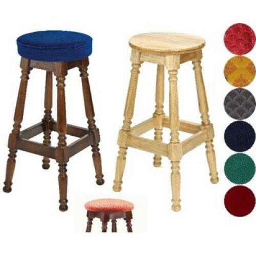 Tamara Wood Bar Stool - Padded / Unpadded Black Faux Leather Piped Upholstery Light Oak