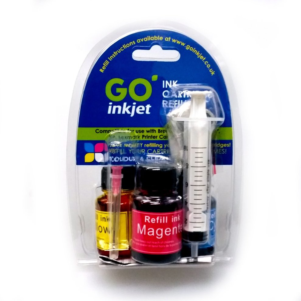 Colour Printer Ink Cartridge Refill Kit for Brother, Canon, Dell, HP,  Lexmark Printers by GO Inkjet