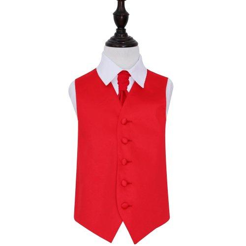 Red Plain Satin Wedding Waistcoat & Cravat Set for Boys 24'