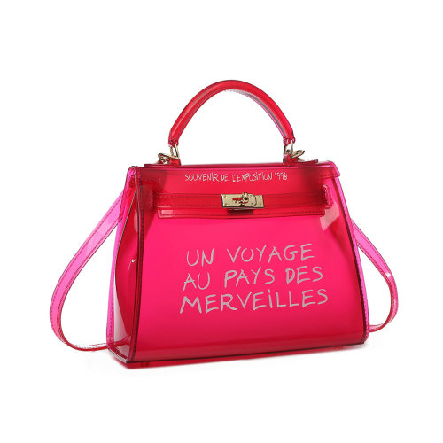 (Red) Miss Lulu 'Un Voyage Au Pays Des Merveilles' Vinyl Bag